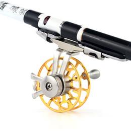 acessórios para ferramentas de pesca com mosca Desconto Carretel de pesca Alumínio Fly Carretéis Diâmetro 55mm Tamanho Gold Right Hand Retrieve Única Ação acessórios de pesca Ferramentas # 4S11