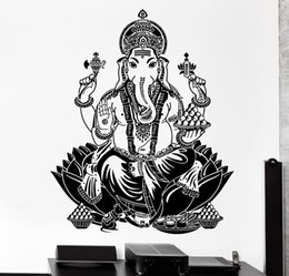 Wholesale Indian Wall Stickers - Buddha Dance Indian Hinduism Wall Sticker Home Decor Wall Decal Elephant Ganesh Buddhism Indian Namaste Buddha Om Yoga God D176