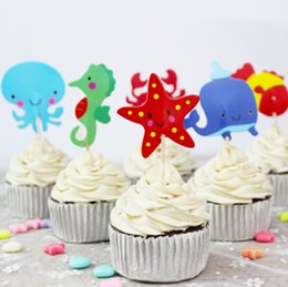2019 decorazioni del mondo subacqueo Underwater World Sea Animals Cake Toppers Pesce Crab Seahorse Cupcake Toppers Bambini Birthday Party Cake Decoration Rifornimenti del partito decorazioni del mondo subacqueo economici