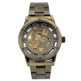 Wholesale vintage skeleton automatic watch - Antique Vintage Style Men's Skeleton Automatic Mechanical Wristwatch Mens Watches relogio masculino Bronze