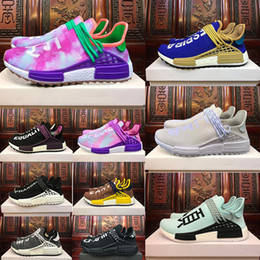 Wholesale Human Trainer - With box HUMAN RACE Pharrell x HuTrail Equality NERD cream men women sports sneaker Holi Canvas SPORT athletic running Shoe trainer shoes