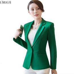 279036f29e79 LXUNYI 2018 Autumn Woman Blazer Black Green Korean Slim Ladies Work Suit Plus  Size Suit Coat Womens Blazers Long Sleeve Casual