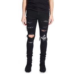 Jeans taille plus déchiré 28 en Ligne-Robin Jeans de High Street Fashion Hommes Noir Couleur Détruit Hip Hop Jeans Pour Hommes Punk Pantalon Designer Marque Déchiré Jeans Plus La Taille 28-40