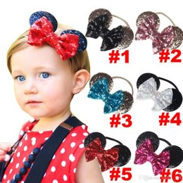 Wholesale Toddler Birthday Hair - baby gold sequin bow headband toddler nylon headbands glitter hair bows baby girl cartoon ears birthday party supplies hair accessories cute
