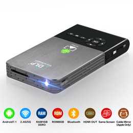 Wholesale wifi pocket - C2 DLP Projector Full HD Portable Wifi Project Android 7.1 1G 8G LED Home Cinema Bluetooth4.0 Projector Mini PC Pocket Projectors