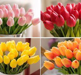 10 colori Umiwe 50 pz PU Falso Seta Artificiale Tulipani Flores Artificiales Mazzi di Fiori Artificiali Per La Casa Decorazione di Cerimonia Nuziale da