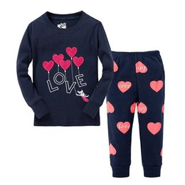 Chinese girls lovely sleepwear kids long sleeve pyjamas baby love pajamas  100% cotton children clothes a718fae9a