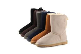 Botas de invierno de proa online-2018 marca clásico cuero genuino de cuero de vaca botas de nieve botas de lana 100% botas de invierno cálido para mujeres de gran tamaño 4-12