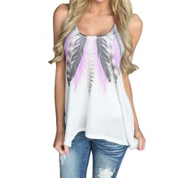 sexy low shirt Promo Codes - Women Plus Size Dreamcatcher Blouse Feather Print Sleeveless Casual Shirts O-neck low cut Sexy Tops Female Clothings