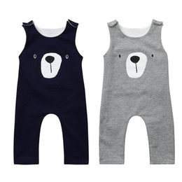 la neonata porta l'abito Sconti 2018 vestiti del bambino senza maniche tute orso casual blu navy / grigio / rosa bambini ragazzo ragazza infant pagliaccetto tutina in cotone abiti abiti set