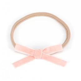 Wholesale Handmade Ribbon Headbands - Nylon Headband with Velvet Ribbon Hair Bows Handmade Mini Bow Hair Band for Infants Newbron Hair Accessory 180pcs lot