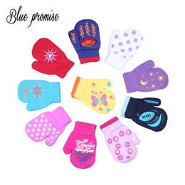 Wholesale Dark Purple Gloves - Cute Winter Warm Gloves Children Knitted Mittens Kids Solid Girls Gloves Stretch Christmas gift Random Boys 14cm