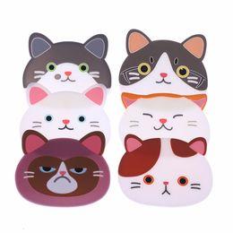 2019 gatos impressos almofadas Gato dos desenhos animados Coasters Silicone Placemat Almofada Talheres Copo De Chá Pad Mat Criativo Impressões Tapetes de Mesa Mais Grosso gatos impressos almofadas barato
