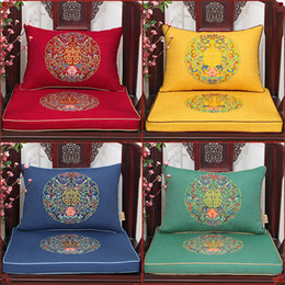 almohada de fibra hueca Rebajas Bordado fino étnica de lujo feliz sofá silla asiento cojín algodón lino estilo chino almohada lumbar de gama alta almohadillas decorativas gruesas almohadillas