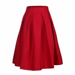 Wholesale skater skirts wholesale - Wholesale- 2016 Women Midi Skirt High Waist Skater Tutu Skirts Pleated Summer Style School Skirt Sun saia longas casual stars skirt