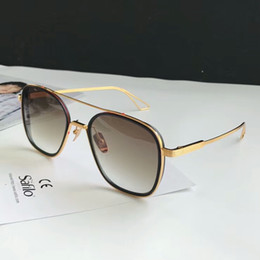Óculos de dedos on-line-Designer Óculos Sistema de Dedos One Pilot Óculos De Sol de ouro / marrom sombreado Gafas de sol mens Designer De Luxo Óculos de Sol Shades Novo