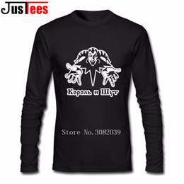 Wholesale Funny Band Shirts - King and Jester T Shirt Russian horror punk band Korol i Shut Mens T Shirt Cotton Long Sleeve Custom T-shirts New Funny T-shirts
