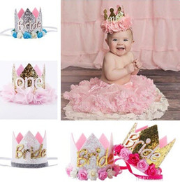 Wholesale bride lace tiara - Baby Birthday Headbands Girls Flower Bride Crown headbands Wedding Tiara hairbands kids princess Glitter Sparkle hair accessories KHA338