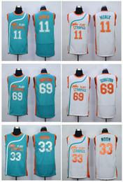 Wholesale color 69 - 69 Downtown 33 Jackie Moon Jersey Men Shirt Flint Tropics Semi Pro Movie 7 Coffee Black Uniforms 11 Ed Monix Team Color Green White