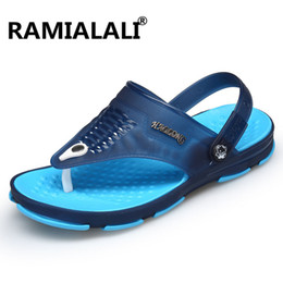 Wholesale Wholesale Flip Flops Buckle - Ramialali Fashion Summer Men Sandals 2018 Breathable Beach Sandals Male Hollow Flip Flops Causal Shoes Water Slippers