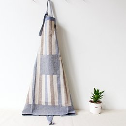 Wholesale Restaurant Linens Wholesale - Cooking Apron New Japenese Style Thickened Cotton&Linen Striped Apron Dining Room Barbecue Restaurant Pocket