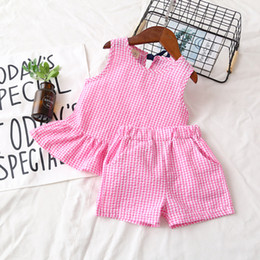 Wholesale Cute Baby Girl Korean - 2018 New Baby Girls Outfits Summer Korean Kids Clothing Sets Plaid Ruffle Tops + Check Shorts 2pcs Sets Cute Children Clothes Suits C3350