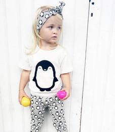 Wholesale Penguin Suits - 2018 summer baby girl clothes sets infant 3pcs suit cotton penguin newborn t-shirt+pants+Headband baby girl clothing set