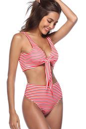 Wholesale Stripe Bikini Set - Summer Ladies Sexy Swimwear Bikini Two Piece Set Stripe Beach Bathing Suit Vintage Bikini Set Red