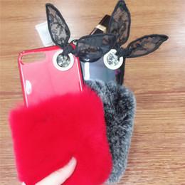 Wholesale Bowknot Case - Luxury Rabbit Hair Fur Head Bling Diamond Rhinestone TPU Case For iphone X 8 7 6s Plus Bowknot Case Soft TPU Cover Cases