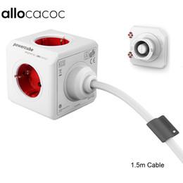 Interruptor de cable micro usb online-adaptar Allocacoc láser extendido PowerCube zócalo de la UE DE adaptador de enchufe 5 salidas con 1.5m / 3m cable de extensión adaptador multi conmutada Socket