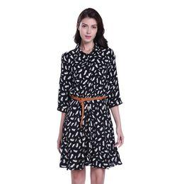Lose schwarze federn online-MISS MOLY Sommer 2018 Casual Halbarm Frauen Kleider A-Line Feather Print Schwarz Kleid Über Knie Frauen Lose Kleid mit Schärpen