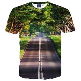 Wholesale Road Cleaning - 3D T shirts Nice Scenery T-shirt for men women 3d tshirt print green trees and clean road casual tops tees t shirt free shipping