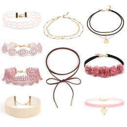 Wholesale Punk Fabrics - Bulk Lots 14 Styles Sets Packing Lace Fabric Necklace Mixed Punk Ethinic Styles Retro Alloy Black Tattoo Stretch Collar Necklace