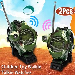 Wholesale interactive games children - 2pcs 7 In 1 Walkie Talkie Watch Intercom Outdoor Game Parents Children Interactive Toy Kids Gift Interphone NNA428