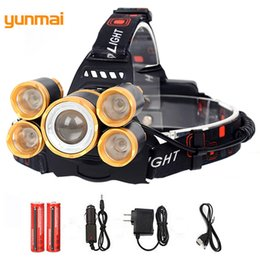 Wholesale Usb Rechargable Batteries - yunmai Rotate Zoom XML-T6+4Q5 LED Headlight 4 Modes Rechargable LED Headlamp Power Lantern USB Interface Head Torch For Fishing