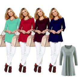 Туника онлайн-Осень 3/4 рукав женщины рубашки Blusas туника асимметричный подол нерегулярные топы повседневная длинная блузка сплошной цвет рубашки OOA4165