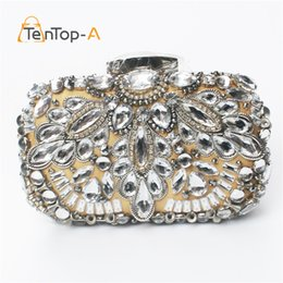 Wholesale Black Beaded Purse - TenTop-A Luxury Crystal Beaded Diamond Evening bag Three-dimensional Party bag purse handbag clutches Bridal Pouch Hard Case