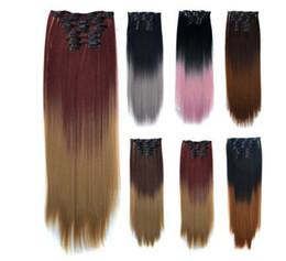 extensions de cheveux clip noir ombre Promotion 8Colors disponibles 22Inchs 16 Clips en Extensions de Cheveux Bruns Noirs Coiffure Droite Coiffures Synthétiques 140g Faux Cheveux
