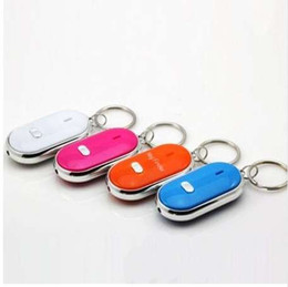 Catena chiave suono online-1pc LED Light Key Finder Trova Lost Keys Chain Keychain Whistle Sound Control