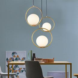 luces colgantes de noche Rebajas LED E27 Anillo de Oro Arte Cocina Comedor Bar Luces Colgantes para Dormitorio Muebles de Iluminación de la Lámpara Colgante Accesorios Luminaria