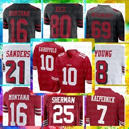 98f221229 San Francisco 49ers Cheap 10 Jimmy Garoppolo 7 Kaepernick 56 Reuben Foster Jersey  25 Richard Sherman 16 Montana 21 Sanders 80 Jerry Rice