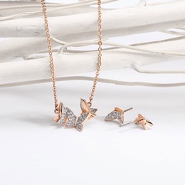 Wholesale Diamond Star Pendant Necklace - 2018 New Good Quality for Swarovski Hight Jewelry Butterfly Diamond Necklace Earrings Necklace set Star Magazine in same