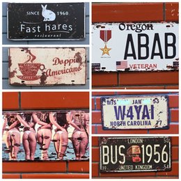 Wholesale home pubs - Retro License Plate Metal different themes beer garage warning Motor Vintage Craft Tin Sign Retro Metal Painting Poster Bar Pub Wall Art