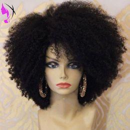 Perucas afro do laço do cabelo do bebê on-line-Densidade completa afro Kinky Curly Lace Frente Perucas Para As Mulheres Negras lado parte dianteira do laço peruca sintética resistente ao calor com o Cabelo Do Bebê