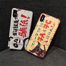 Couvertures d'iphone de caractère en Ligne-Haute Qualité Stent Relief Peint Stealth Couverture Arrière Caractères Chinois Motif Kickstand Cas de Téléphone pour iPhone X 6 7 8 Plus