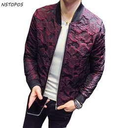 Wholesale Party Outfits - 2017 Autumn New Jacquard Bomber Jackets Men Luxury Wine Red Black Grey Party Jacket Outfit Club Bar Coat Men Casaca Hombre 4XL
