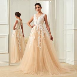 zuhair murad de vestido de pelota de hombro Rebajas 2018 elegante Champagne Organza una línea de vestidos de novia blanco del cordón del barrido tren vestidos de novia botones personalizados vestidos de novia envío gratis