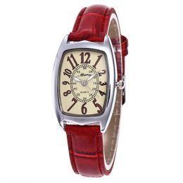 Wholesale square shape watches - Fashion small red watches Ladies square quartz watches students girl Barrels shape casual dress watch Hot sale