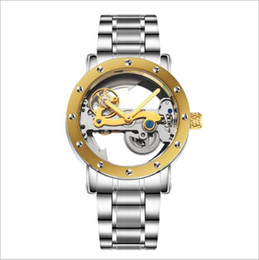 Wholesale Double Tourbillon - Luxury leather fashion mechanical men's double-sided hollow gold watch stainless steel automatic tourbillon watch sports men's watch relogio