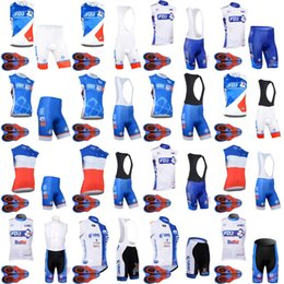 Wholesale cycling clothing sales - FDJ UHC Cycling Sleeveless jersey 9D gel pad bib shorts sets Mountain Racing Bike Riding Hot Sale Bikes Clothes D1320